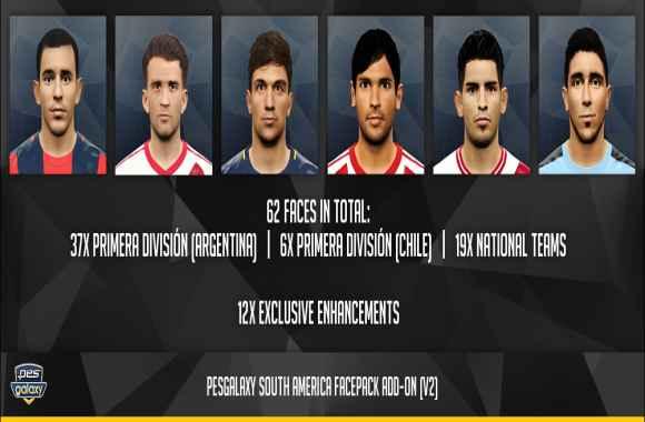 62 Faces South America - اضافه شدن 62 فیس جدید از بازیکنان آمریکای جنوبی به گلکسی پچ ورژن 3