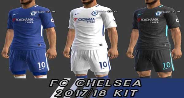 PES 2013 FC Chelsea 2017 18 Kits - دانلود کیت چلسی فصل 2017/18 برای PES 2013