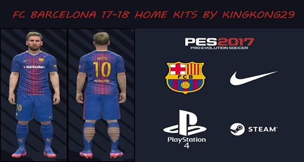 PES 2017 FC Barcelona 17 18 Home Kit 1 - دانلود کیت اول فصل 2017/2018 بارسلونا برای PES 2017
