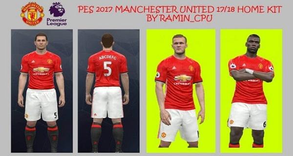 دانلود کیت پک جدید PES 2017 Manchester United 17/18 Home Kit