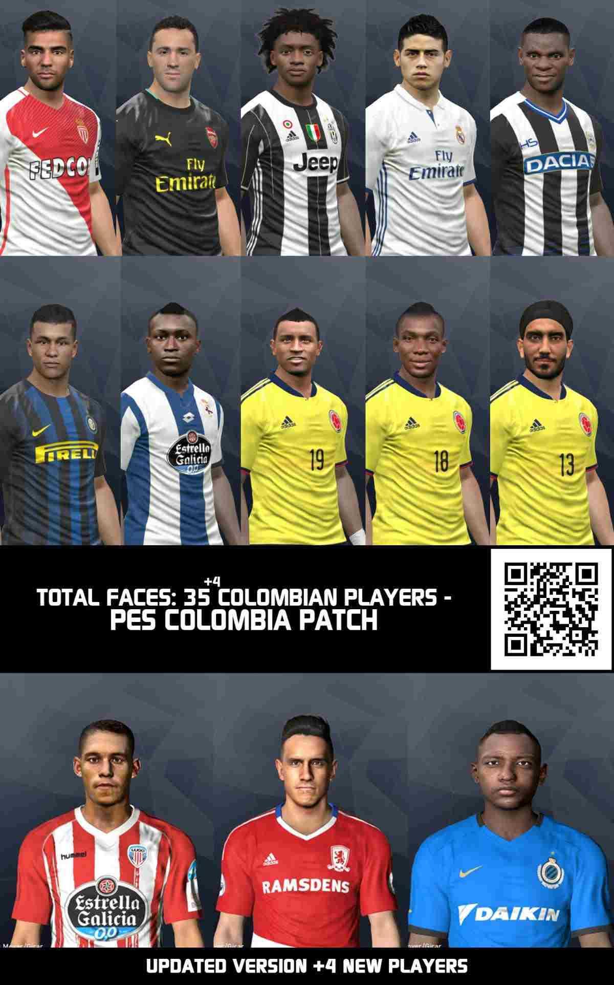 آپدیت مگا فیس پک 39 بازیکن کلمبیایی برای Pes 2017