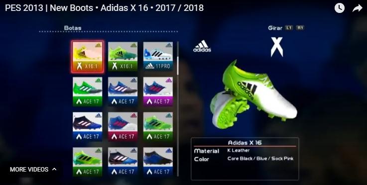 X16 Cleats - کفش Adidas X16 K Leather Green-Black-White 2017-18 برای Pes 2013