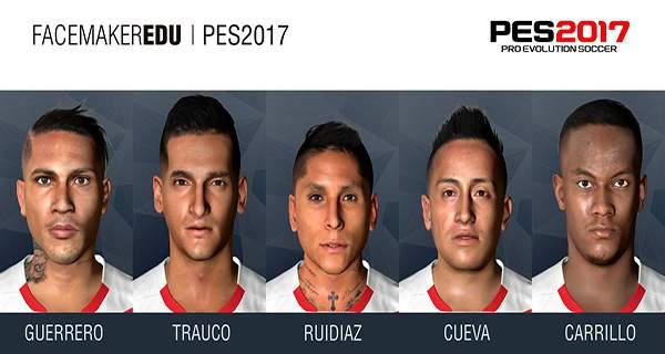 دانلود فیس پک تیم ملی پرو PES 2017 FacePack PERÚ 2017