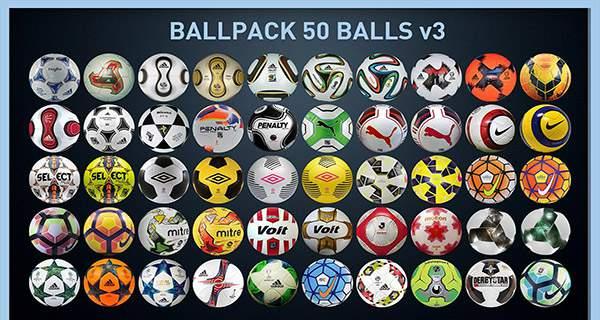 دانلود مستقیم پک توپ BallPack 50 Balls V3 برای PES2017