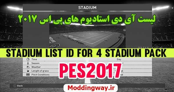 دانلود لیست آی دی استادیوم پچ های PES2017
