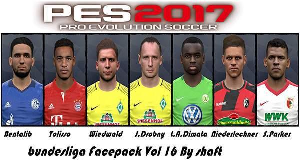 دانلود فیس پک بوندسلیگا PES 2017 Bundesliga FacePack Vol 16