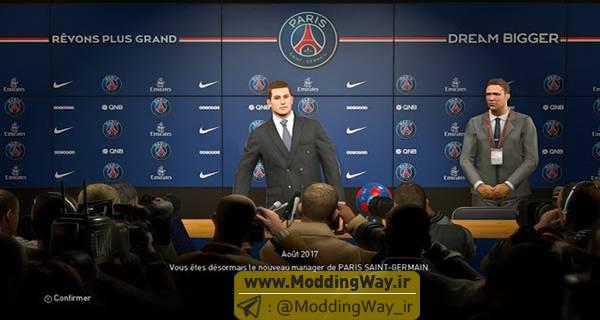 PES 2018 Press Room Paris Saint Germain - دانلود مود اتاق کنفرانس PSG برای PES2018 [در مسترلیگ]
