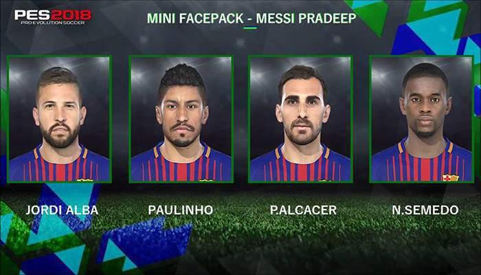 مینی فیس پک بارسلونا برای PES2018 توسط Messi Pradeep