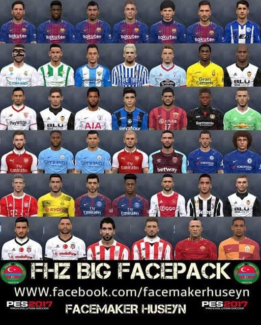 مگا فیس پک FHZ BIG Facepack برای PES2017 توسط Huseyn