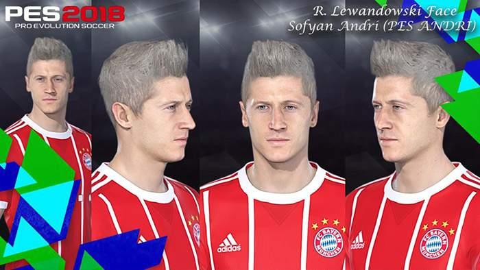 فیس Lewandowski برای PES 2018 با موی Blonde