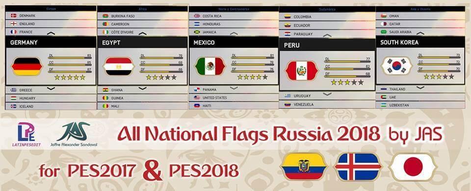 طرح پرچم تیم های ملی جام جهانی 2018 برای PES 17/18
