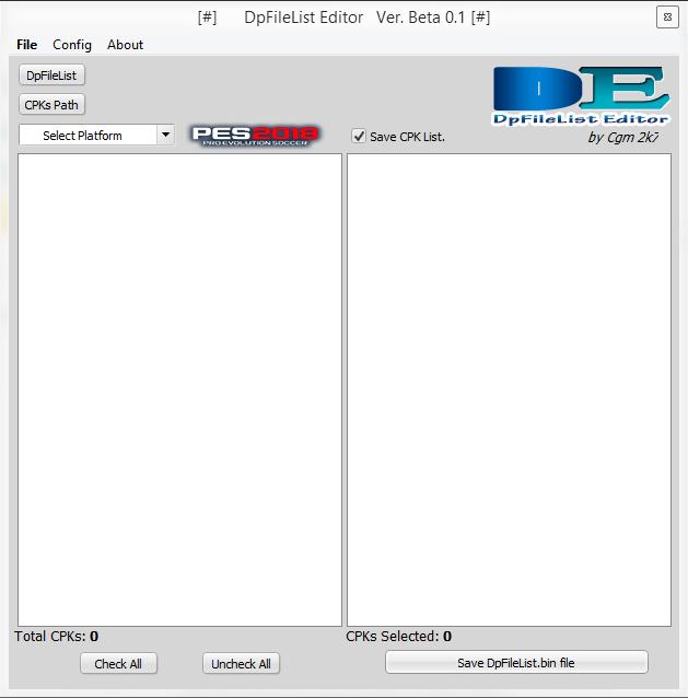 نرم افزار DpFileList Editor 2018 برای PES 2018