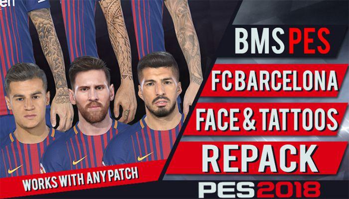دانلود پک تتو با فیس بارسلونا برای PES2018