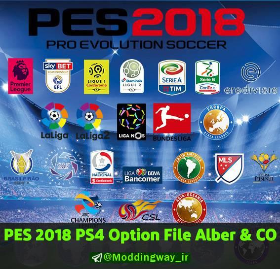 اپشن فایل Alber & Co. Futbol Real V5.0 برای PES 2018 (پلی استیشن 4)