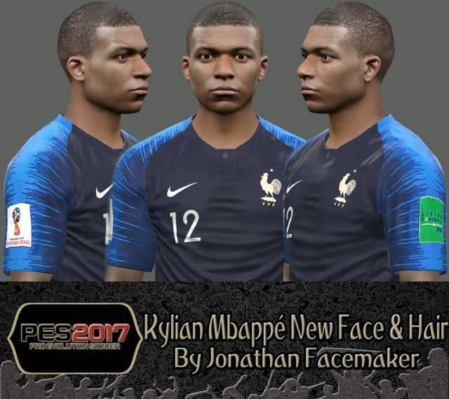 فیس و موی جدید Mbappe برای PES 2017 توسط Jonathan