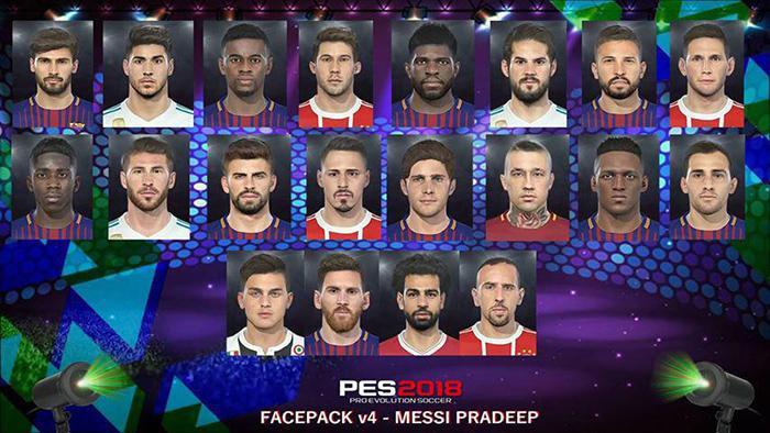 فیس پک V4 برای PES 2018 توسط Messi Pradeep