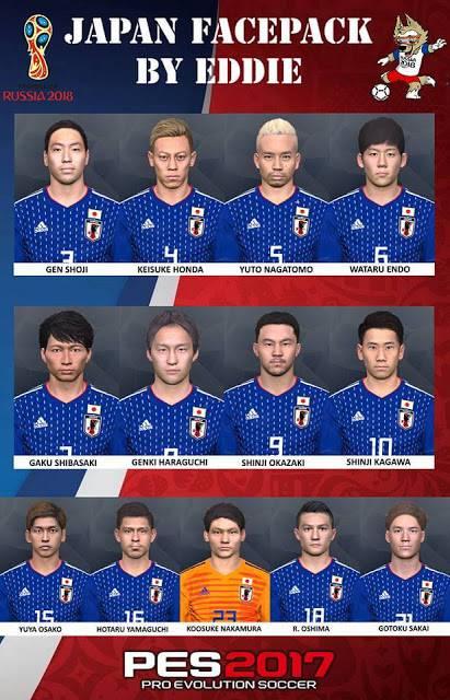 فیس پک ژاپن جام جهانی 2018 برای PES 2017