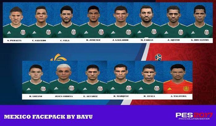 فیس پک تیم ملی مکزیک جام جهانی برای PES 2017