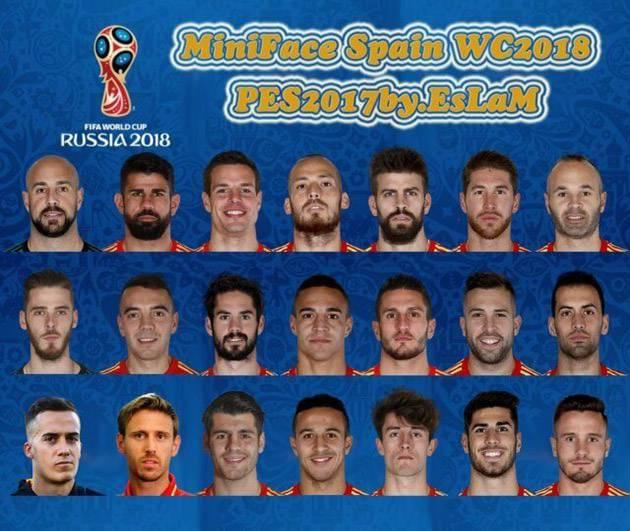 مینی فیس اسپانیا برای PES 2018 در جام جهانی روسیه