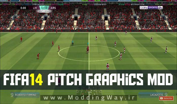 مود چمن Real Pitch V1 برای FIFA 14 ( شبیه چمن FIFA 19 )