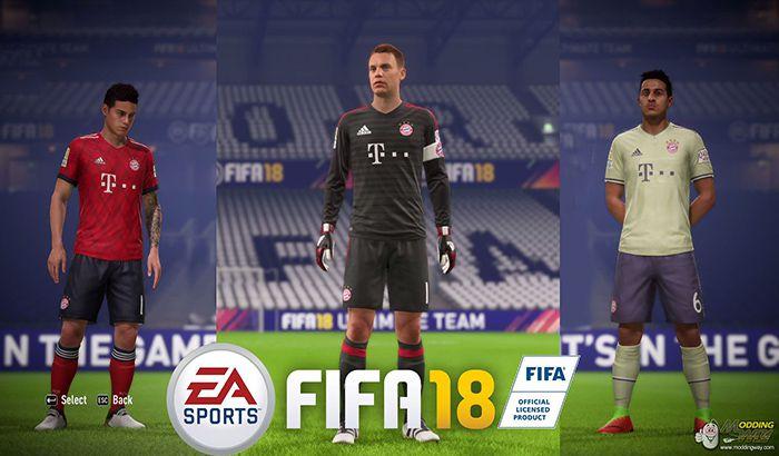 دانلود کیت پک بایرن مونیخ برای FIFA 18 فصل 18/19
