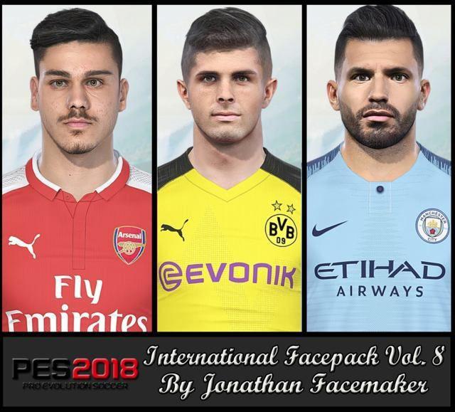 فیس پک International Vol. 8 برای PES 2018 توسط Jonathan facemaker