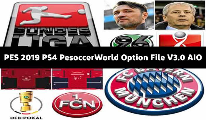 دانلود آپشن فایل PesoccerWorld V3.0 AIO برای PES 2019 PS4