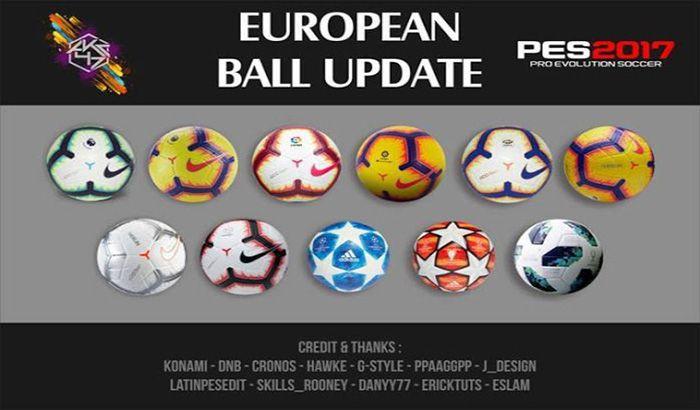 دانلود پک توپ اروپایی فصل 2018/2019 برای PES 2017