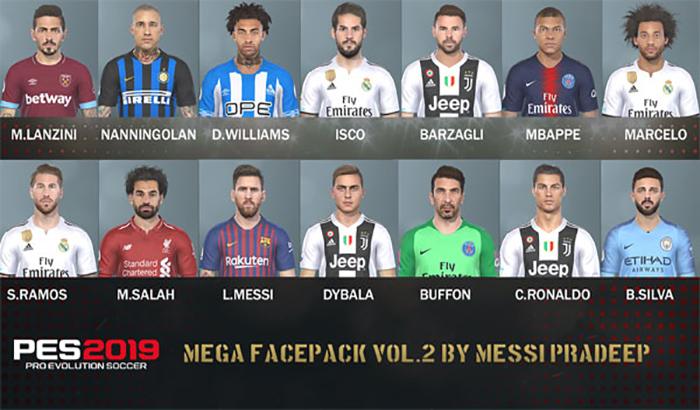 دانلود Mega Facepack Vol.2 برای PES 2019 توسط Messi Preadeep