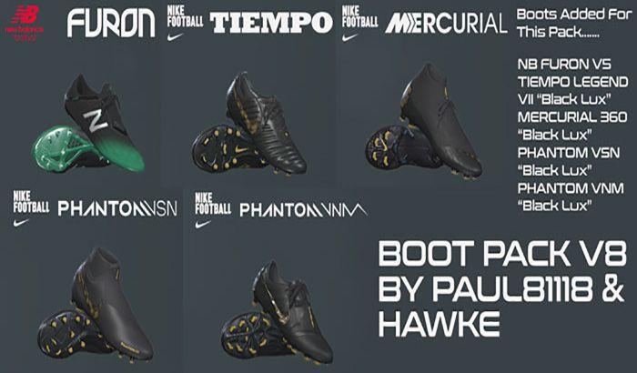 دانلود پک کفش V8 برای PES 2019 توسط Hawke
