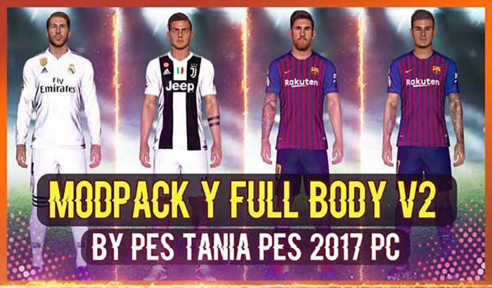 دانلود مدل بدن Modpack Y Full Body V2 برای PES 2017 ( هماهنگ با تتو پک 800 )