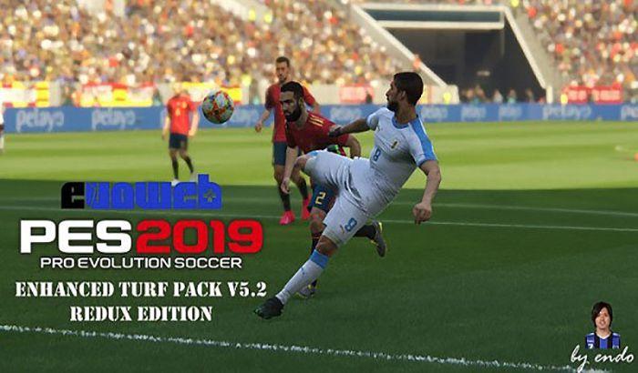 مود چمن Enhanced Turf Pack V5.2 برای PES 2019 + مود HDR Reshade