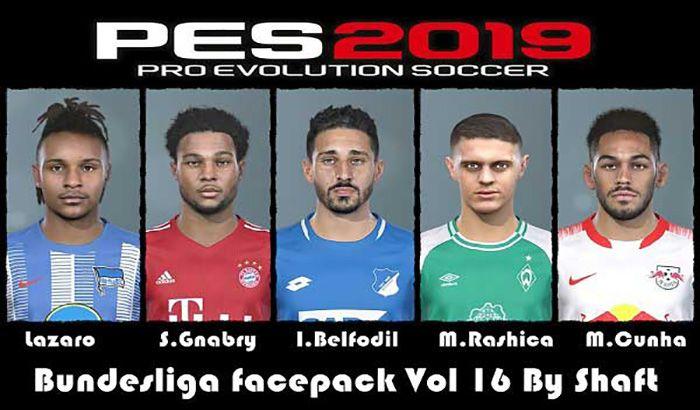 دانلود فیس پک Bundesliga Vol 16 برای PES 2019 توسط Shaft