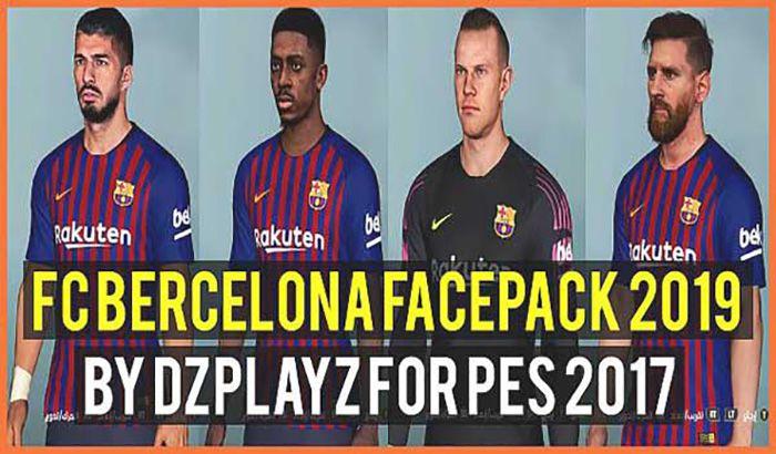 دانلود فیس پک 2019 بارسلونا برای PES 2017 توسط DZPLAYZ
