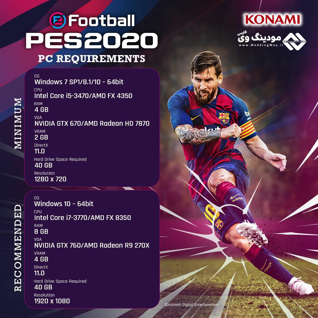 سیستم مورد نیاز PES 2020 - دانلود eFootball PES 2020 برای PC و PS4 + دانلود کرک PES 2020