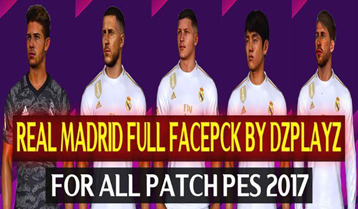 فول فیس پک رئال مادرید 2019/2020 برای PES 2017 توسط DZPLAYZ