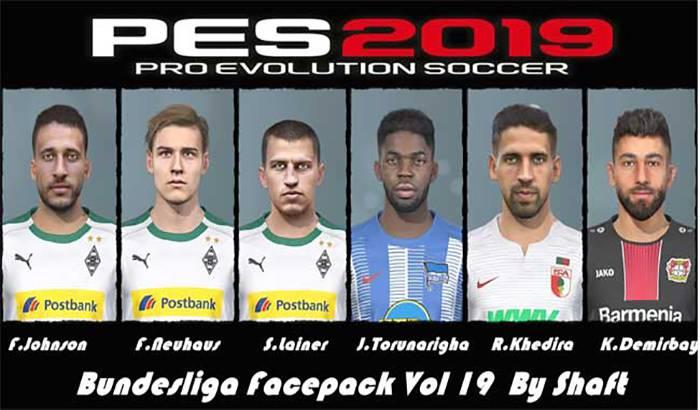 دانلود فیس پک Bundesliga Vol 19 برای PES 2019 توسط Shaft