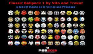 دانلود پک توپ کلاسیک V1 برای PES 2020 توسط Vito