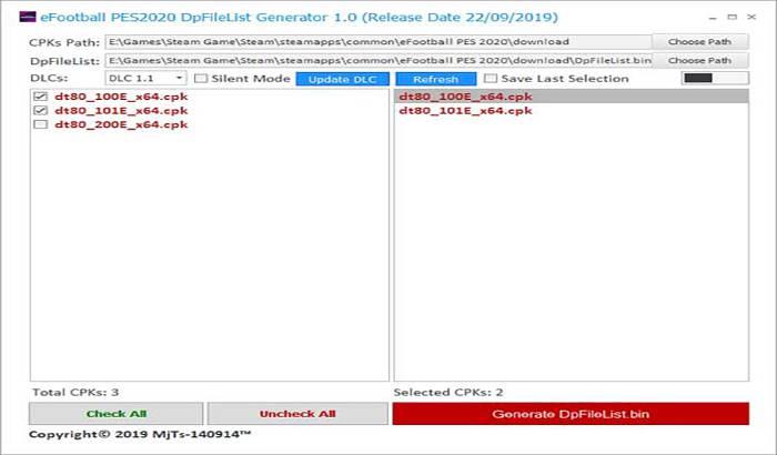 ابزار DpFileList Generator برای PES 2020