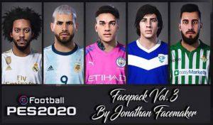 فیس پک Vol 3 برای PES 2020 توسط Jonathan facemaker