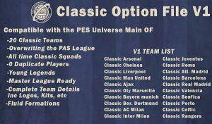 آپشن فایل PESUniverse Classic V1 برای PES 2020 PS4