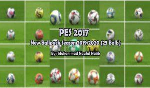 دانلود پک توپ 25 تایی فصل 2020 برای PES 2017