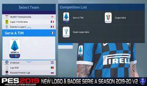 لوگو و نشان آستین فصل 2019/20 سری آ ایتالیا برای PES2019