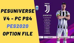 آپشن فایل PESUniverse V4 برای PES 2020 نسخه PS4 و PC