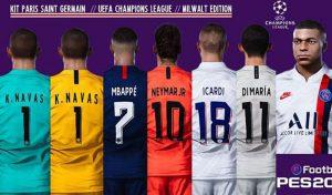 فول کیت پک PSG UEFA Champions League برای PES 2020 توسط Milwalt edition