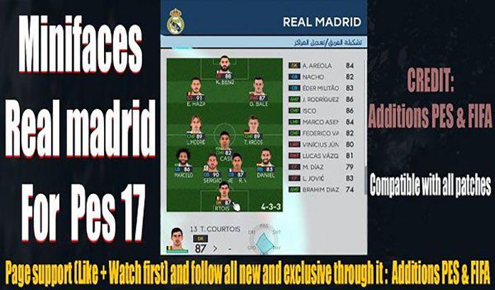 مینی فیس Real Madrid برای PES 2017