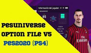 آپشن فایل PESUniverse V5 برای PES 2020 نسخه PS4 و PC