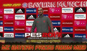 اتاق کنفرانس و کیت مربی Bayern Munchen برای PES 2017