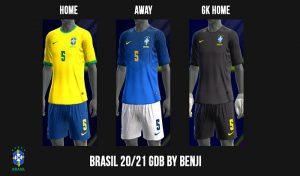 کیت تیم ملی Brasil GDB 2020-21 برای PES 2013