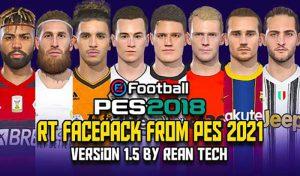 فیس پک RT PES 2021 v1.5 برای PES 2018 توسط Rean tech
